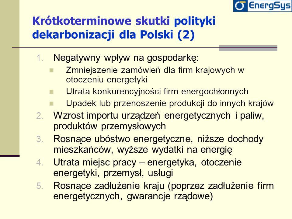 Krótkoterminowe skutki polityki dekarbonizacji dla Polski (2) 1. Negatywny wpływ na gospodarkę: Zmniejszenie zamówień dla firm krajowych w otoczeniu e