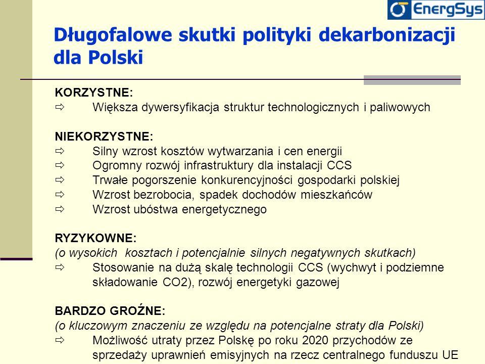 Długofalowe skutki polityki dekarbonizacji dla Polski KORZYSTNE: Większa dywersyfikacja struktur technologicznych i paliwowych NIEKORZYSTNE: Silny wzr