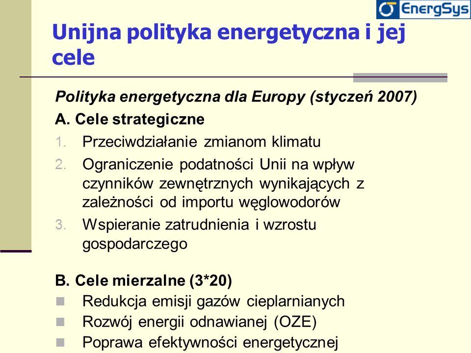 Unijna polityka energetyczna i jej cele Polityka energetyczna dla Europy (styczeń 2007) A. Cele strategiczne 1. Przeciwdziałanie zmianom klimatu 2. Og