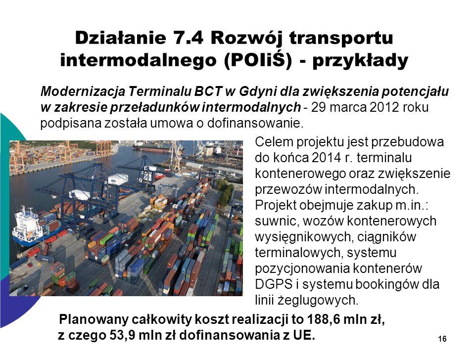 Działanie 7.4 Rozwój transportu intermodalnego (POIiŚ) - przykłady Modernizacja Terminalu BCT w Gdyni dla zwiększenia potencjału w zakresie przeładunk
