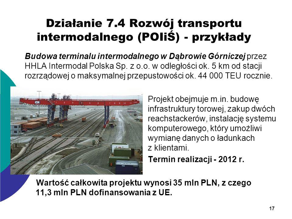 Działanie 7.4 Rozwój transportu intermodalnego (POIiŚ) - przykłady Budowa terminalu intermodalnego w Dąbrowie Górniczej przez HHLA Intermodal Polska S