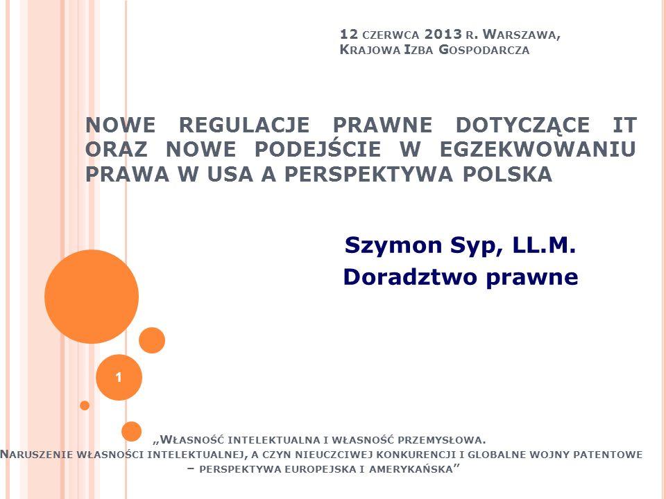 P ODSUMOWANIE (1) W Polsce istnieje szeroka gama przepisów prawnych, które pozwalają na ochronę uprawnionych z tytułu IT (2) Możliwe jest sformułowanie typu cnk na podstawie uznk polegającego na wykorzystywaniu w ramach prowadzonej działalności gospodarczej przez przedsiębiorstwa nielegalnego oprogramowania (IT) 22
