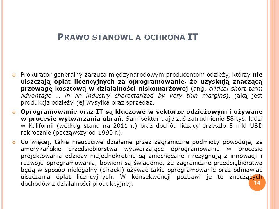 P RAWO STANOWE A OCHRONA IT Prokurator generalny zarzuca międzynarodowym producentom odzieży, którzy nie uiszczają opłat licencyjnych za oprogramowani