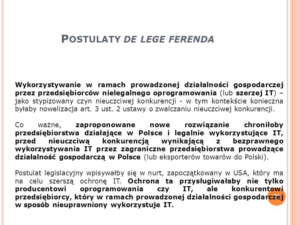 P OSTULATY DE LEGE FERENDA 20 Wykorzystywanie w ramach prowadzonej działalności gospodarczej przez przedsiębiorców nielegalnego oprogramowania (lub sz
