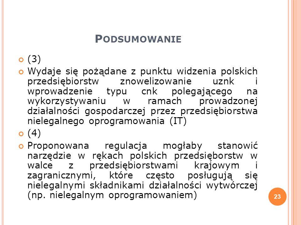 P ODSUMOWANIE (3) Wydaje się pożądane z punktu widzenia polskich przedsiębiorstw znowelizowanie uznk i wprowadzenie typu cnk polegającego na wykorzyst