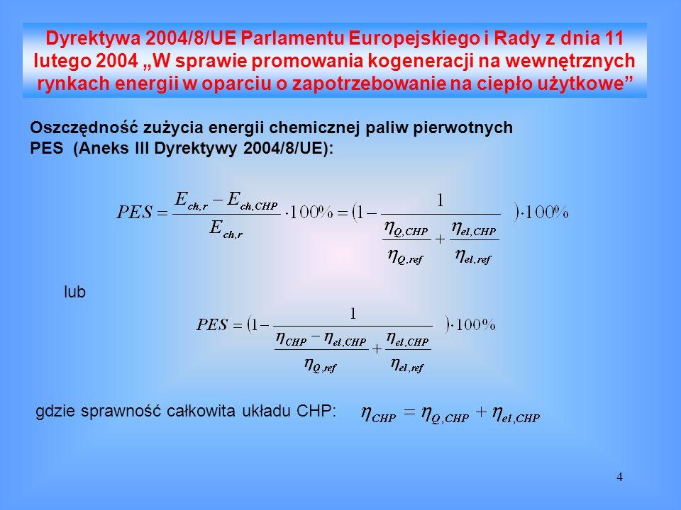 5 Wysokosprawna kogeneracja PES 10% (w odniesieniu do układów CHP produkujących na małą skalę (poniżej 1 MW el ), lub dla jednostek mikro-kogeneracyjnych (poniżej 50 kW el ) wystarczy PES 0)