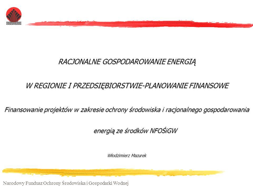 Narodowy Fundusz Ochrony Środowiska i Gospodarki Wodnej RACJONALNE GOSPODAROWANIE ENERGIĄ W REGIONIE I PRZEDSIĘBIORSTWIE-PLANOWANIE FINANSOWE Finansow