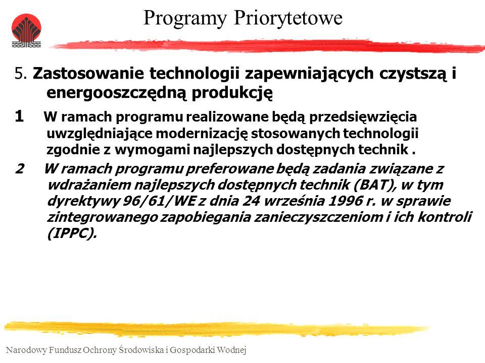 Narodowy Fundusz Ochrony Środowiska i Gospodarki Wodnej Programy Priorytetowe 5. Zastosowanie technologii zapewniających czystszą i energooszczędną pr