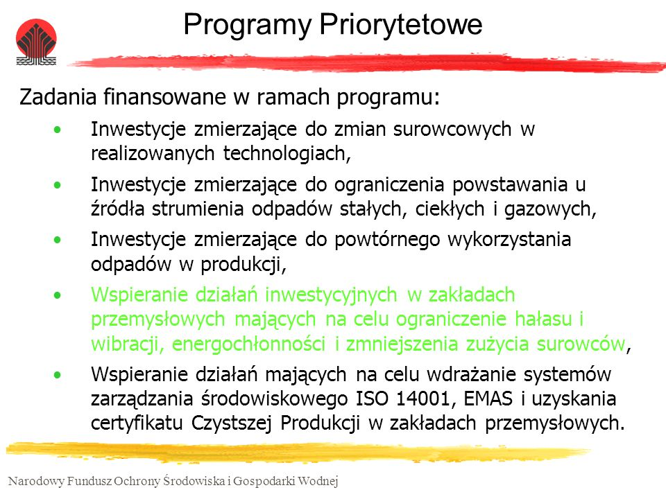 Narodowy Fundusz Ochrony Środowiska i Gospodarki Wodnej Programy Priorytetowe Zadania finansowane w ramach programu: Inwestycje zmierzające do zmian s