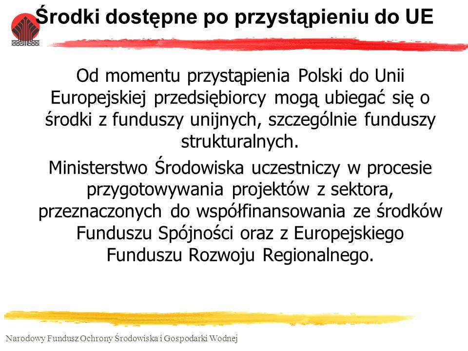 Narodowy Fundusz Ochrony Środowiska i Gospodarki Wodnej Środki dostępne po przystąpieniu do UE Od momentu przystąpienia Polski do Unii Europejskiej pr