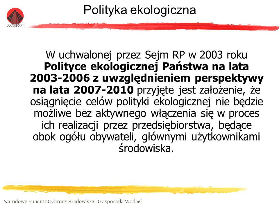 Narodowy Fundusz Ochrony Środowiska i Gospodarki Wodnej Polityka ekologiczna W uchwalonej przez Sejm RP w 2003 roku Polityce ekologicznej Państwa na l