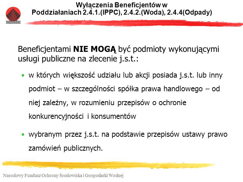 Narodowy Fundusz Ochrony Środowiska i Gospodarki Wodnej Wyłączenia Beneficjentów w Poddziałaniach 2.4.1.(IPPC), 2.4.2.(Woda), 2.4.4(Odpady) Beneficjen