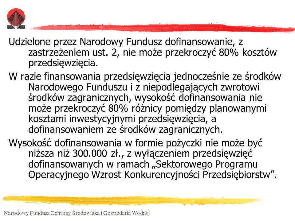 Narodowy Fundusz Ochrony Środowiska i Gospodarki Wodnej Udzielone przez Narodowy Fundusz dofinansowanie, z zastrzeżeniem ust. 2, nie może przekroczyć