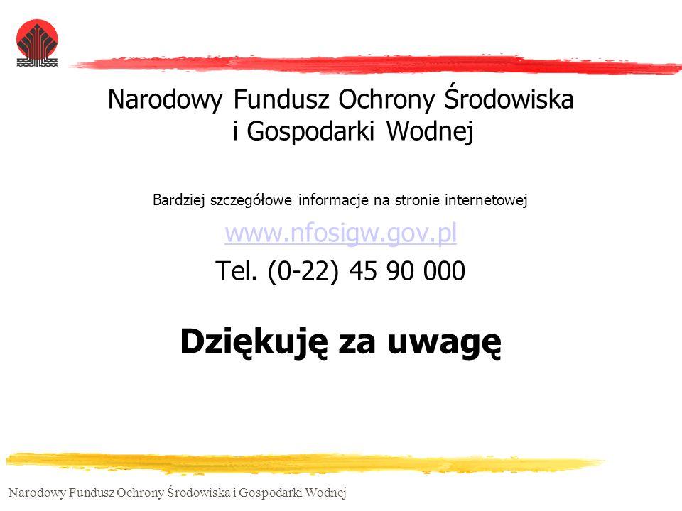 Narodowy Fundusz Ochrony Środowiska i Gospodarki Wodnej Bardziej szczegółowe informacje na stronie internetowej www.nfosigw.gov.pl Tel. (0-22) 45 90 0