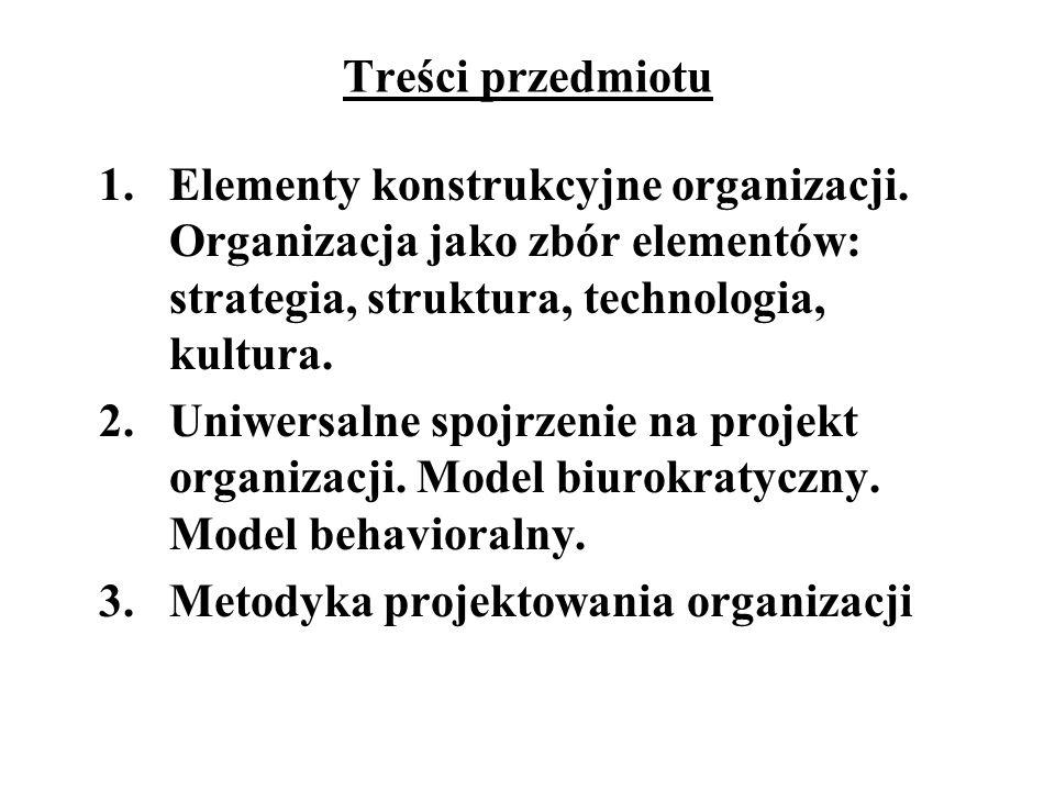 Treści przedmiotu 1.Elementy konstrukcyjne organizacji. Organizacja jako zbór elementów: strategia, struktura, technologia, kultura. 2.Uniwersalne spo
