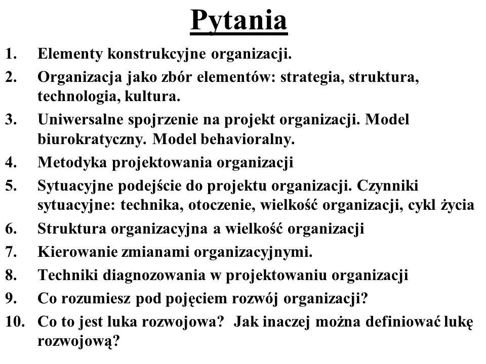 Pytania 1.Elementy konstrukcyjne organizacji. 2.Organizacja jako zbór elementów: strategia, struktura, technologia, kultura. 3.Uniwersalne spojrzenie