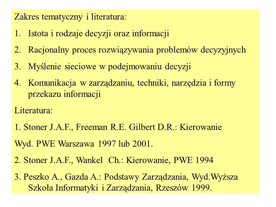 Zakres tematyczny i literatura: 1.Istota i rodzaje decyzji oraz informacji 2.Racjonalny proces rozwiązywania problemów decyzyjnych 3.Myślenie sieciowe