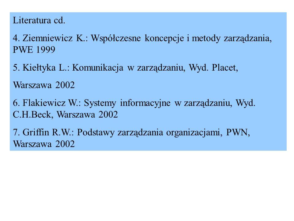Literatura cd. 4. Ziemniewicz K.: Współczesne koncepcje i metody zarządzania, PWE 1999 5. Kiełtyka L.: Komunikacja w zarządzaniu, Wyd. Placet, Warszaw