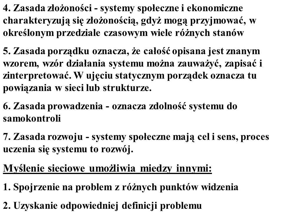 4. Zasada złożoności - systemy społeczne i ekonomiczne charakteryzują się złożonością, gdyż mogą przyjmować, w określonym przedziale czasowym wiele ró