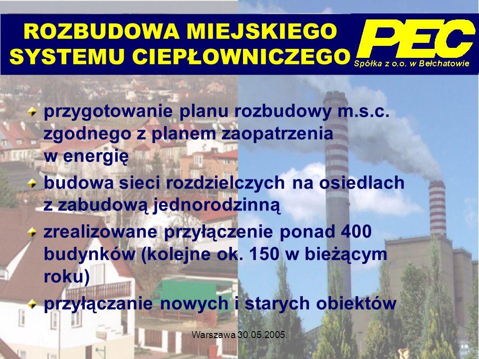 Warszawa 30.05.2005. ROZBUDOWA MIEJSKIEGO SYSTEMU CIEPŁOWNICZEGO przygotowanie planu rozbudowy m.s.c. zgodnego z planem zaopatrzenia w energię budowa