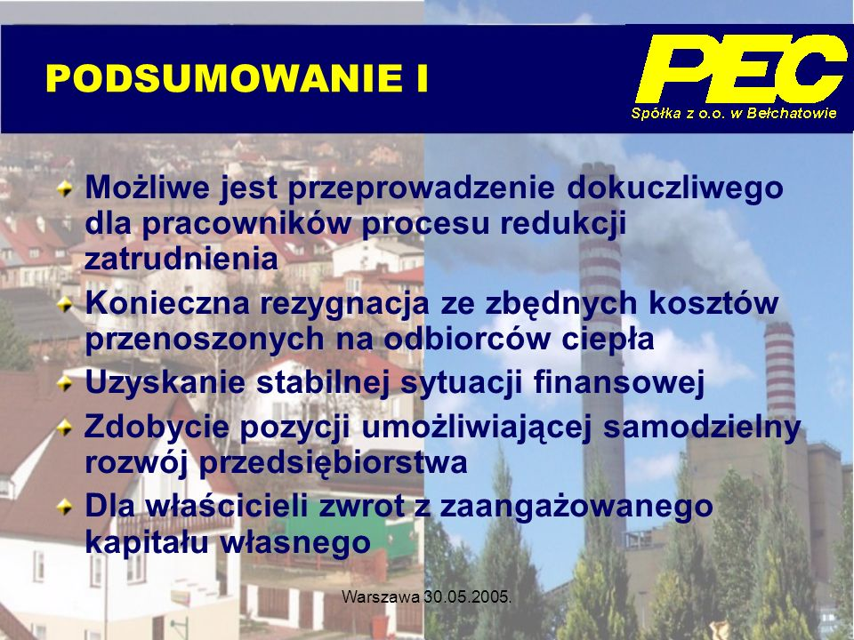 Warszawa 30.05.2005. PODSUMOWANIE I Możliwe jest przeprowadzenie dokuczliwego dla pracowników procesu redukcji zatrudnienia Konieczna rezygnacja ze zb