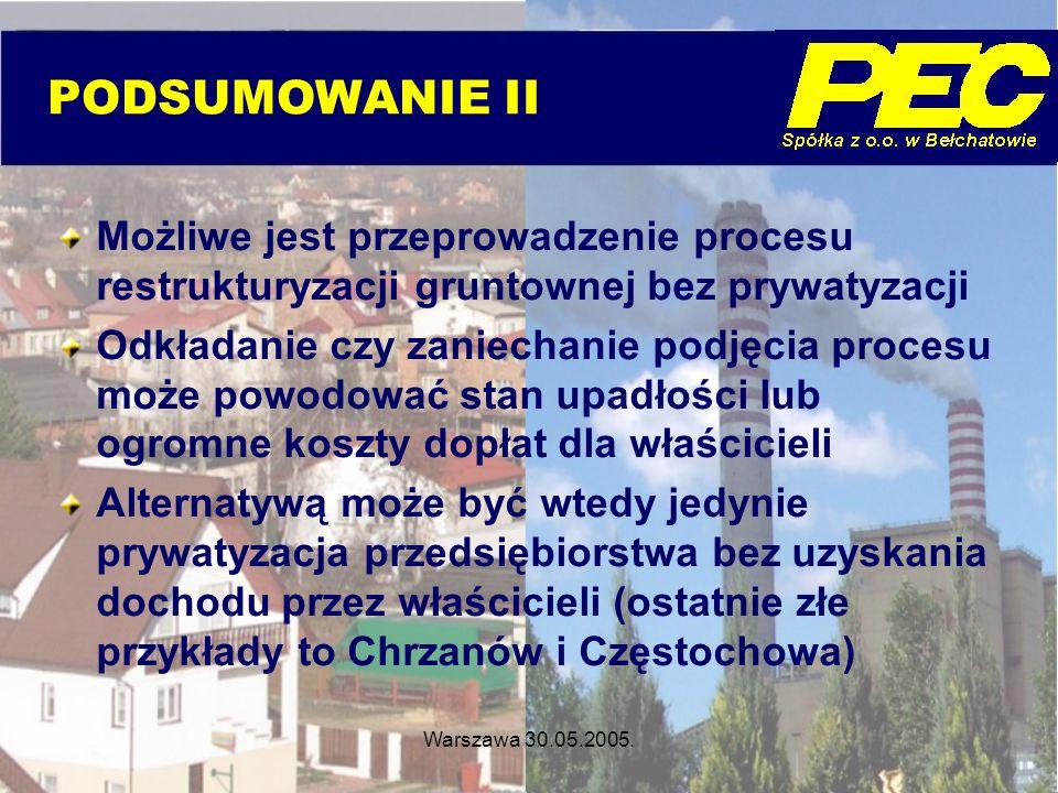 Warszawa 30.05.2005. Możliwe jest przeprowadzenie procesu restrukturyzacji gruntownej bez prywatyzacji Odkładanie czy zaniechanie podjęcia procesu moż