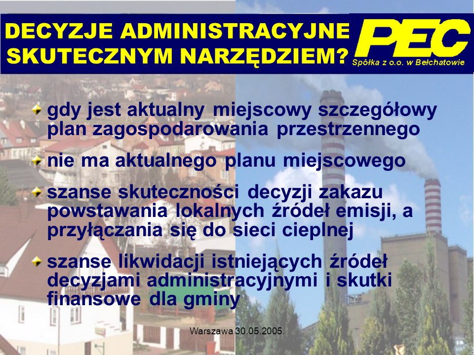 Warszawa 30.05.2005. DECYZJE ADMINISTRACYJNE SKUTECZNYM NARZĘDZIEM? gdy jest aktualny miejscowy szczegółowy plan zagospodarowania przestrzennego nie m
