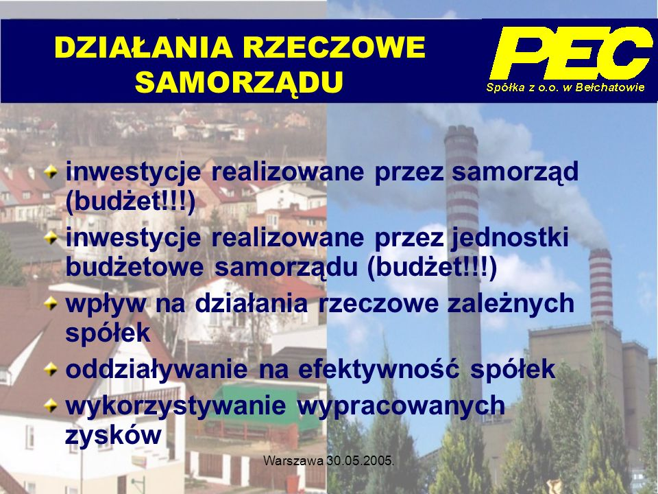 Warszawa 30.05.2005. inwestycje realizowane przez samorząd (budżet!!!) inwestycje realizowane przez jednostki budżetowe samorządu (budżet!!!) wpływ na