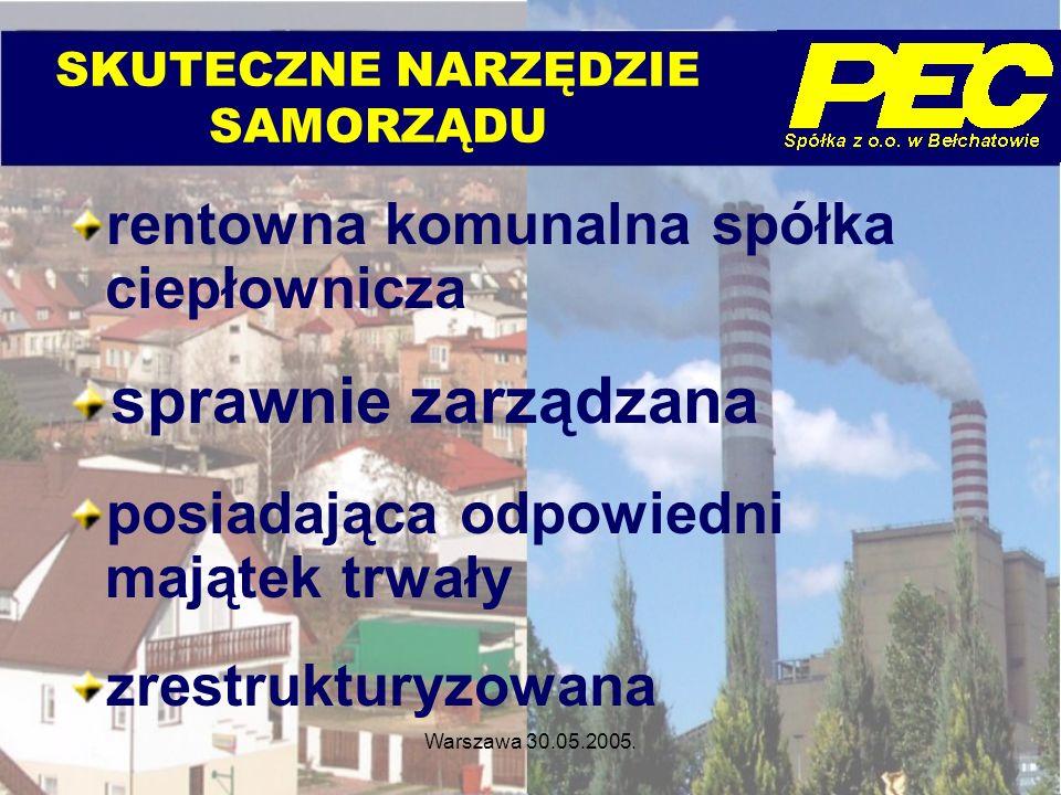 Warszawa 30.05.2005. SKUTECZNE NARZĘDZIE SAMORZĄDU rentowna komunalna spółka ciepłownicza sprawnie zarządzana posiadająca odpowiedni majątek trwały zr