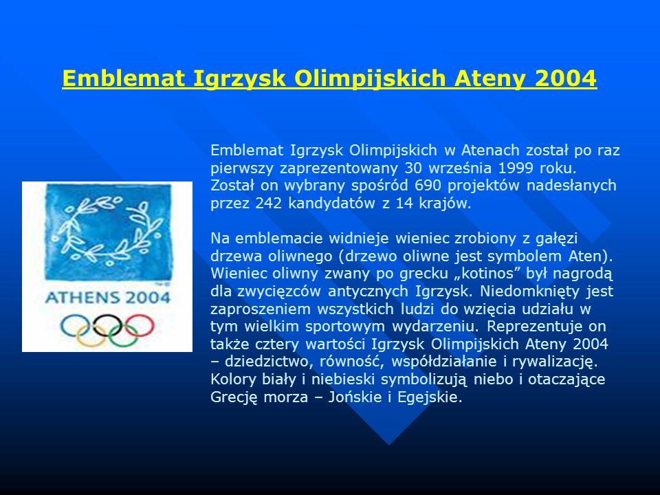 Emblemat Igrzysk Olimpijskich w Atenach został po raz pierwszy zaprezentowany 30 września 1999 roku. Został on wybrany spośród 690 projektów nadesłany
