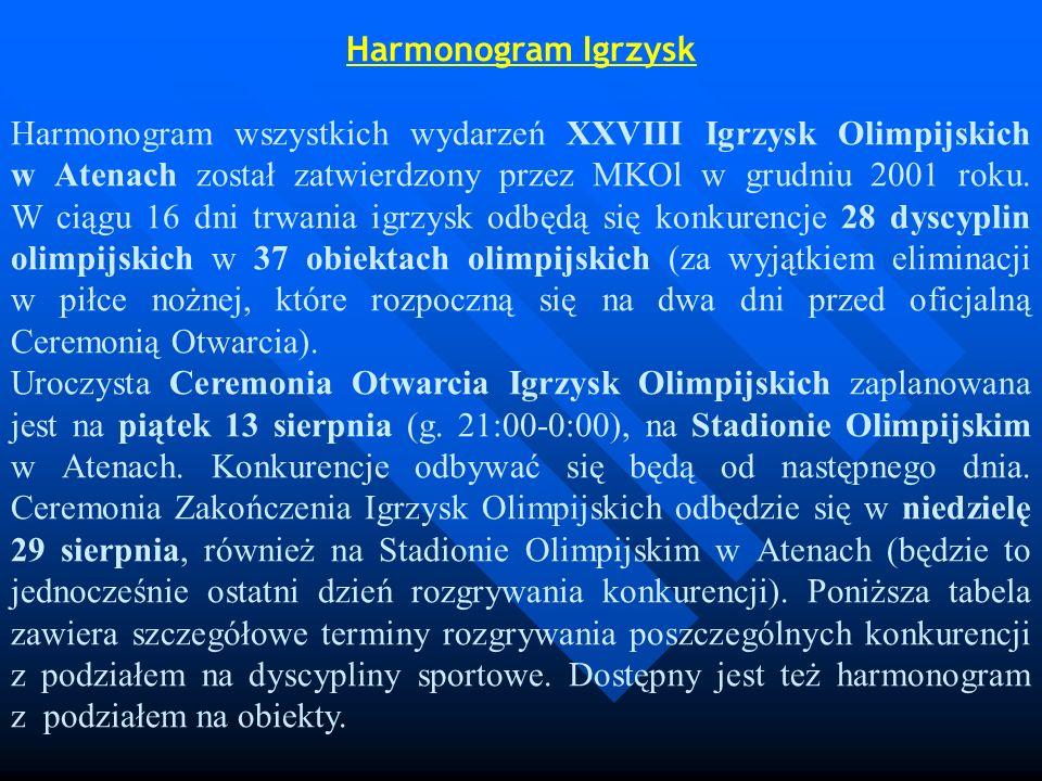 Harmonogram Igrzysk Harmonogram wszystkich wydarzeń XXVIII Igrzysk Olimpijskich w Atenach został zatwierdzony przez MKOl w grudniu 2001 roku. W ciągu