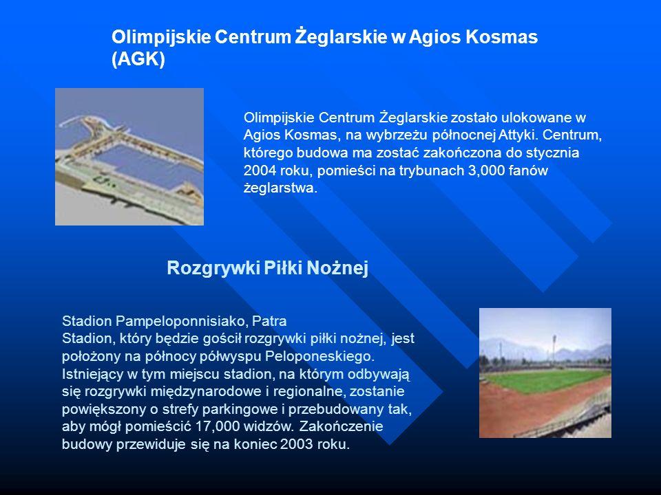 Olimpijskie Centrum Żeglarskie w Agios Kosmas (AGK) Olimpijskie Centrum Żeglarskie zostało ulokowane w Agios Kosmas, na wybrzeżu północnej Attyki. Cen