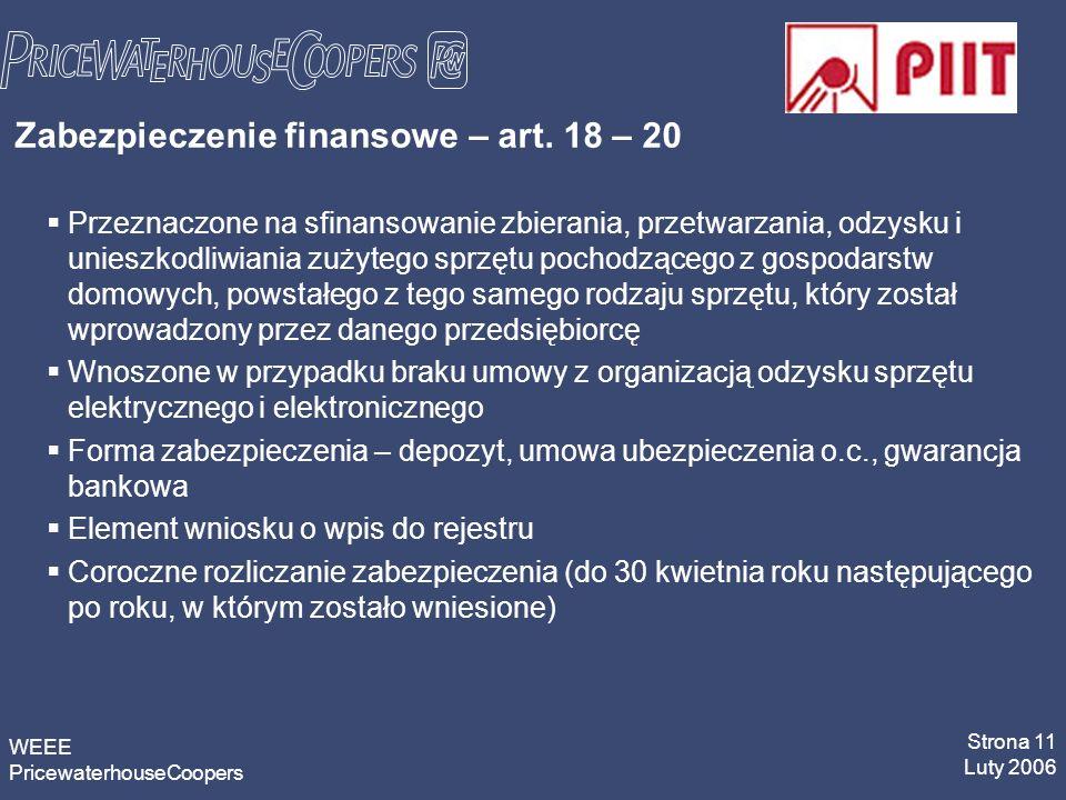 WEEE PricewaterhouseCoopers Strona 11 Luty 2006 Zabezpieczenie finansowe – art.