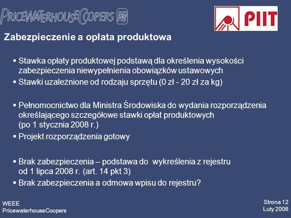 WEEE PricewaterhouseCoopers Strona 12 Luty 2006 Zabezpieczenie a opłata produktowa Stawka opłaty produktowej podstawą dla określenia wysokości zabezpieczenia niewypełnienia obowiązków ustawowych Stawki uzależnione od rodzaju sprzętu (0 zł - 20 zł za kg) Pełnomocnictwo dla Ministra Środowiska do wydania rozporządzenia określającego szczegółowe stawki opłat produktowych (po 1 stycznia 2008 r.) Projekt rozporządzenia gotowy Brak zabezpieczenia – podstawa do wykreślenia z rejestru od 1 lipca 2008 r.