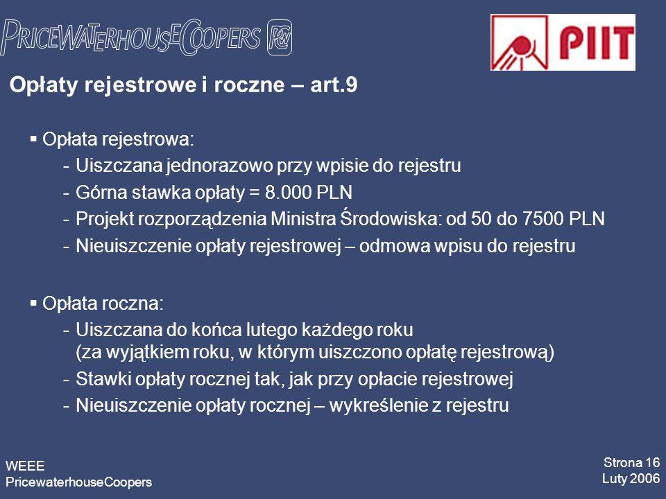 WEEE PricewaterhouseCoopers Strona 16 Luty 2006 Opłaty rejestrowe i roczne – art.9 Opłata rejestrowa: -Uiszczana jednorazowo przy wpisie do rejestru -Górna stawka opłaty = 8.000 PLN -Projekt rozporządzenia Ministra Środowiska: od 50 do 7500 PLN -Nieuiszczenie opłaty rejestrowej – odmowa wpisu do rejestru Opłata roczna: -Uiszczana do końca lutego każdego roku (za wyjątkiem roku, w którym uiszczono opłatę rejestrową) -Stawki opłaty rocznej tak, jak przy opłacie rejestrowej -Nieuiszczenie opłaty rocznej – wykreślenie z rejestru