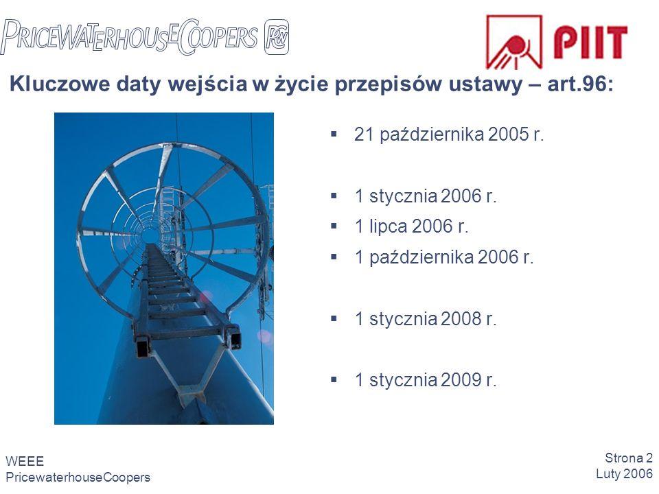 WEEE PricewaterhouseCoopers Strona 2 Luty 2006 Kluczowe daty wejścia w życie przepisów ustawy – art.96: 21 października 2005 r.