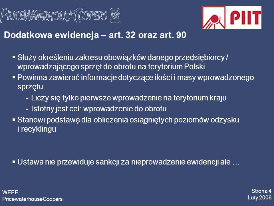 WEEE PricewaterhouseCoopers Strona 4 Luty 2006 Dodatkowa ewidencja – art.