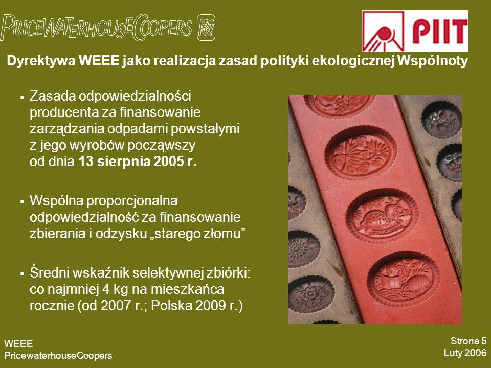 Proces implementacji regulacji w zakresie WEEE w Polsce Dyrektywa nr 2002/96/WE w wersji ustanowionej dyrektywą Parlamentu Europejskiego i Rady nr 2003/108/WE z dnia 8 grudnia 2003 r.