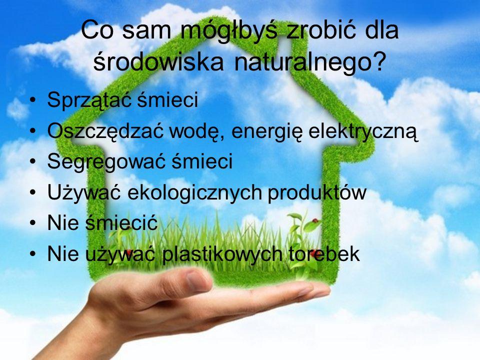 Co sam mógłbyś zrobić dla środowiska naturalnego? Sprzątać śmieci Oszczędzać wodę, energię elektryczną Segregować śmieci Używać ekologicznych produktó
