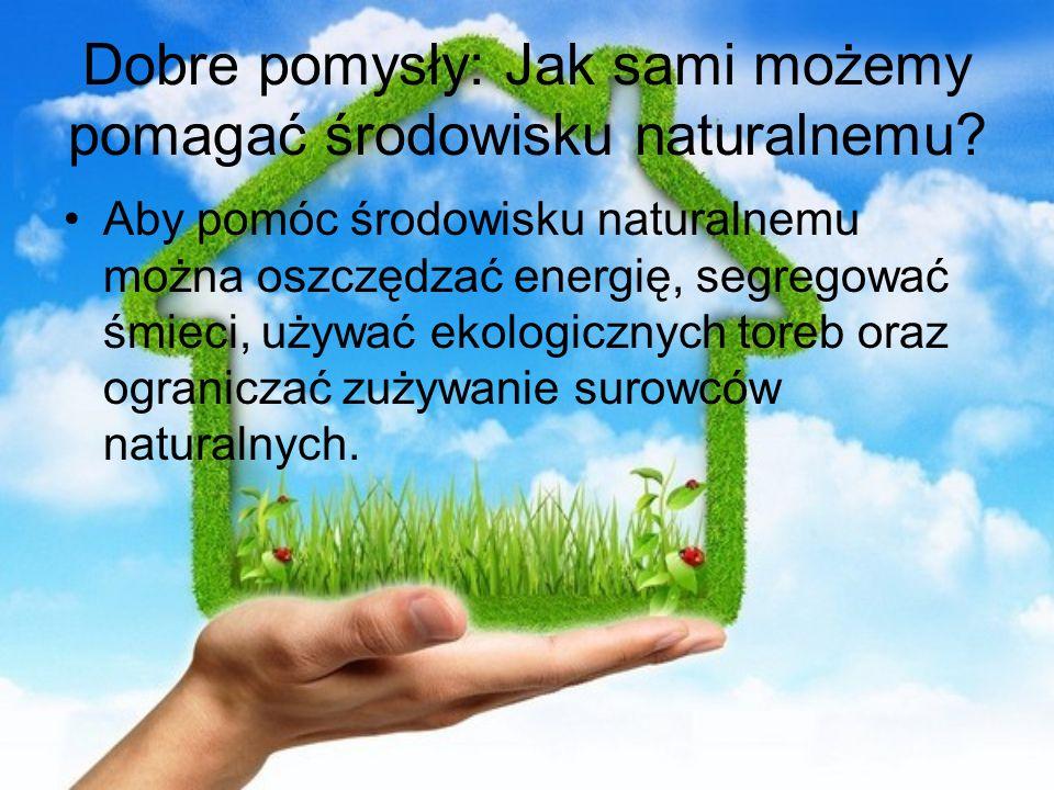 Dobre pomysły: Jak sami możemy pomagać środowisku naturalnemu? Aby pomóc środowisku naturalnemu można oszczędzać energię, segregować śmieci, używać ek
