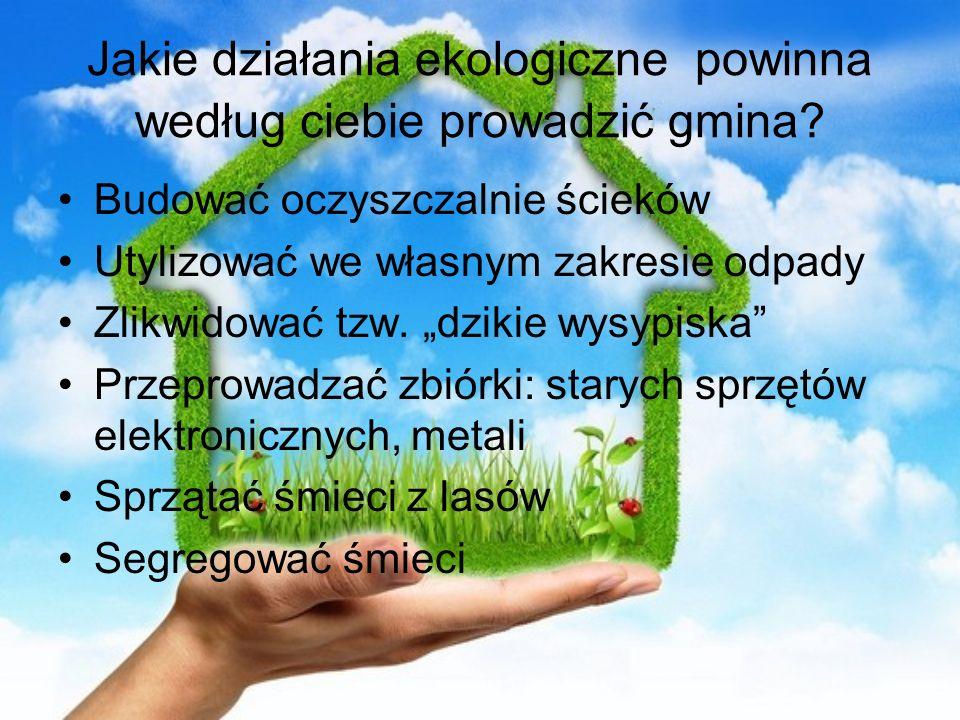 Jakie działania ekologiczne powinna według ciebie prowadzić gmina? Budować oczyszczalnie ścieków Utylizować we własnym zakresie odpady Zlikwidować tzw