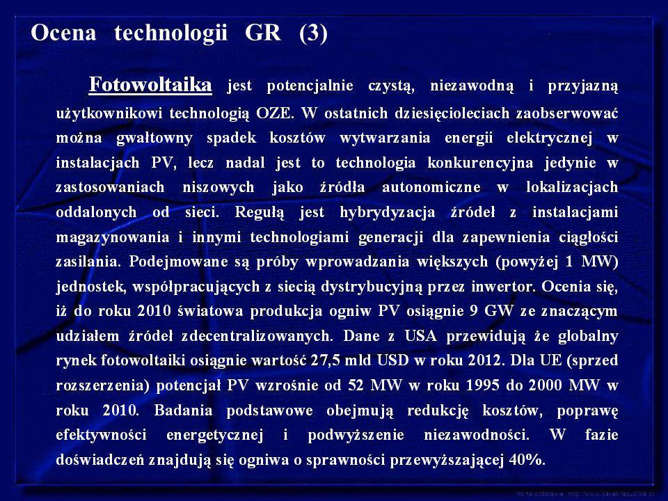 Ocena technologii GR (3) tło na podstawie: http://www.pavek.republika.pl/