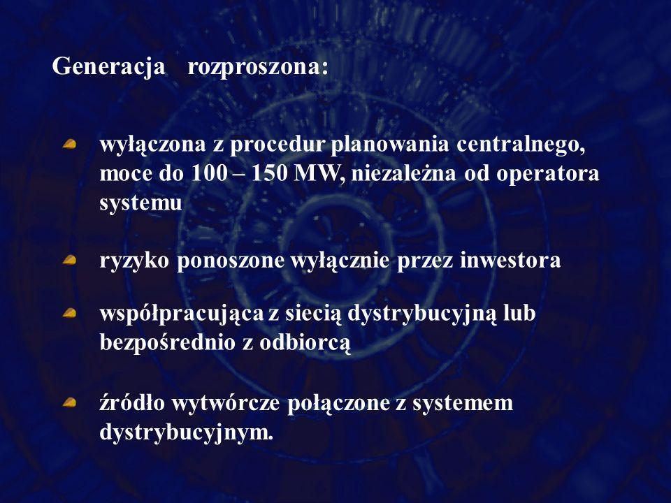 Generacja rozproszona: wyłączona z procedur planowania centralnego, moce do 100 – 150 MW, niezależna od operatora systemu ryzyko ponoszone wyłącznie p