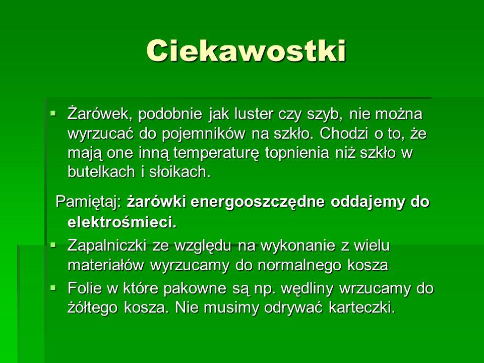 Ciekawostki Żarówek, podobnie jak luster czy szyb, nie można wyrzucać do pojemników na szkło.