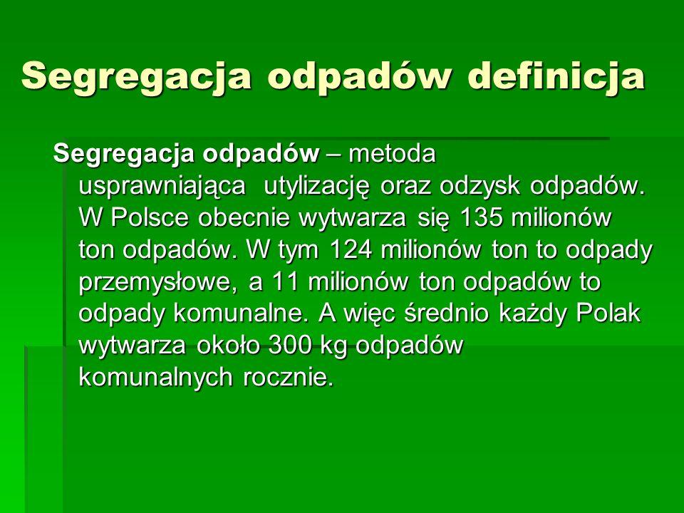Segregacja odpadów definicja Segregacja odpadów – metoda usprawniająca utylizację oraz odzysk odpadów.