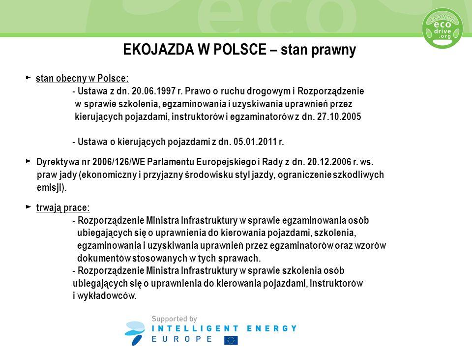 EKOJAZDA W POLSCE – stan prawny stan obecny w Polsce: - Ustawa z dn. 20.06.1997 r. Prawo o ruchu drogowym i Rozporządzenie w sprawie szkolenia, egzami