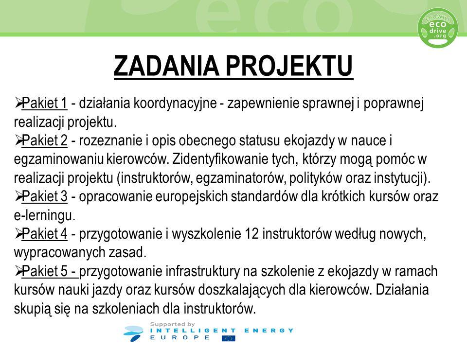 ZADANIA PROJEKTU Pakiet 1 - działania koordynacyjne - zapewnienie sprawnej i poprawnej realizacji projektu. Pakiet 2 - rozeznanie i opis obecnego stat