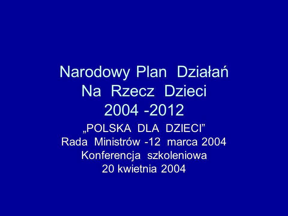 Narodowy Plan Działań Na Rzecz Dzieci 2004 -2012 POLSKA DLA DZIECI Rada Ministrów -12 marca 2004 Konferencja szkoleniowa 20 kwietnia 2004