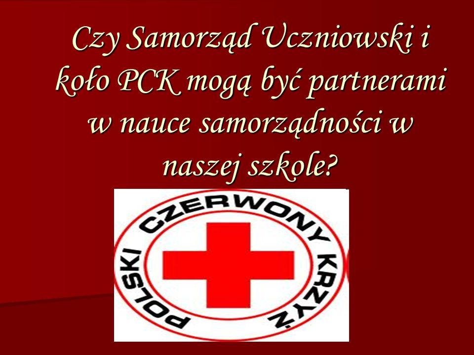 Czy Samorząd Uczniowski i koło PCK mogą być partnerami w nauce samorządności w naszej szkole?