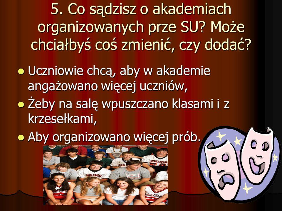 5.Co sądzisz o akademiach organizowanych prze SU.